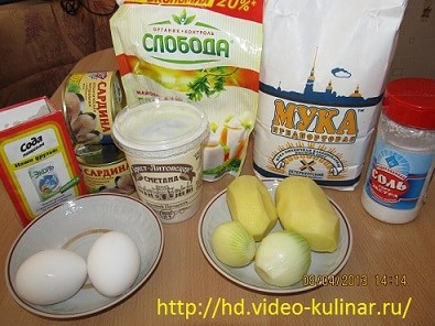 Рецепты рыбный пирог жидкое тесто консервы