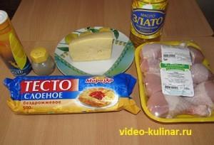 Ингредиенты для куриных голеней в тесте с сыром.
