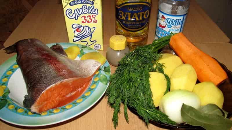 Ингредиенты для ухи по фински