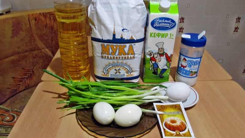 Оладьи с зеленым лком и яйцом ингредиенты