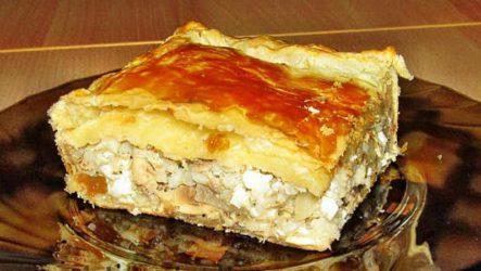 Рыбный пирог из слоеного теста с консервами