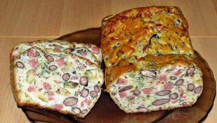 Мясной кекс с фасолью, сыром и грибами