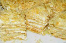 Быстрый торт Наполеон из готового слоеного теста