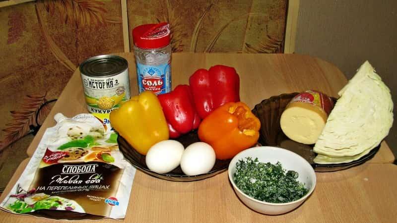 Салат скопченым сыром и колбасой ингредиенты