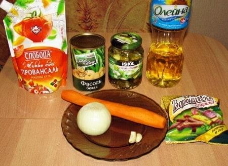 Рецепт салата с фасолью - ингредиенты