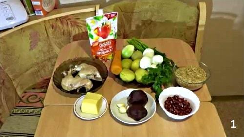 Ингредиенты для салата Шапка мономаха