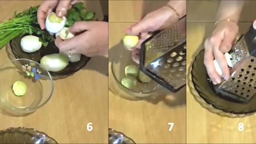 Натереть яйцо на терке