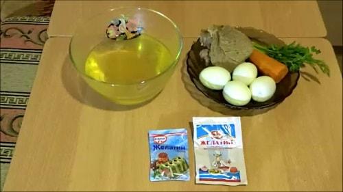 Ингредиенты для заливного