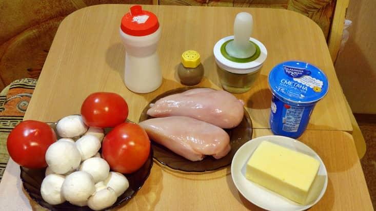 Ингредиенты для запеканки с куриным филе и грибами